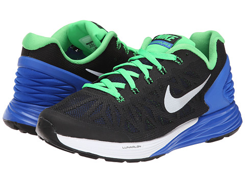 Nike Kids - Lunarglide 6 (Big Kid) (Black/Lyon Blue/Lt Green Spark/Metallic Silver) Boys Shoes
