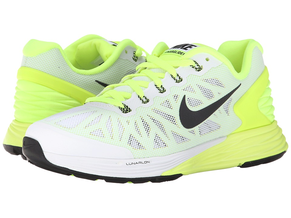 Nike Kids - Lunarglide 6 (Big Kid) (White/Volt/Liquid Lime/Black) Boys Shoes