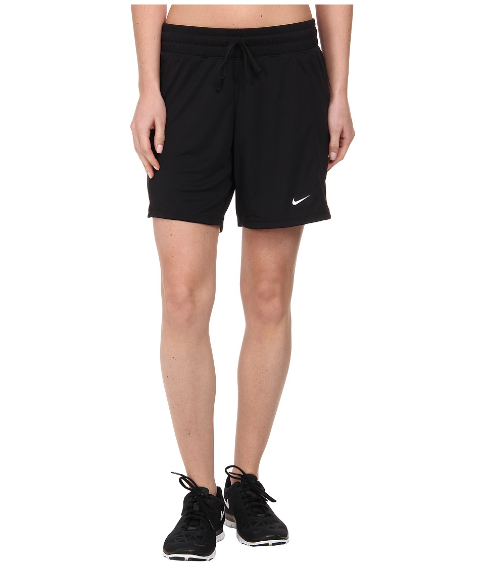 Nike - Dri-FIT Knit Long Short (Black/Black/White) Women's Shorts