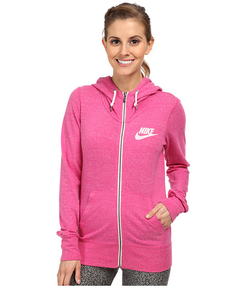 Nike - Gym Vintage Full-Zip Hoodie (Hot Pink/Sail) Women's Sweatshirt