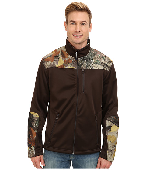 Roper - Bonded Fleece Pieced w/ Camo Zip Jacket (Brown) Men's Coat