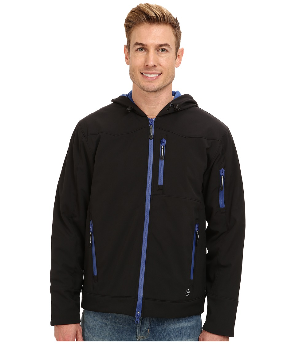 Roper - Softshell Fleece Insulated Jacket w/ Hood (Black) Men's Coat
