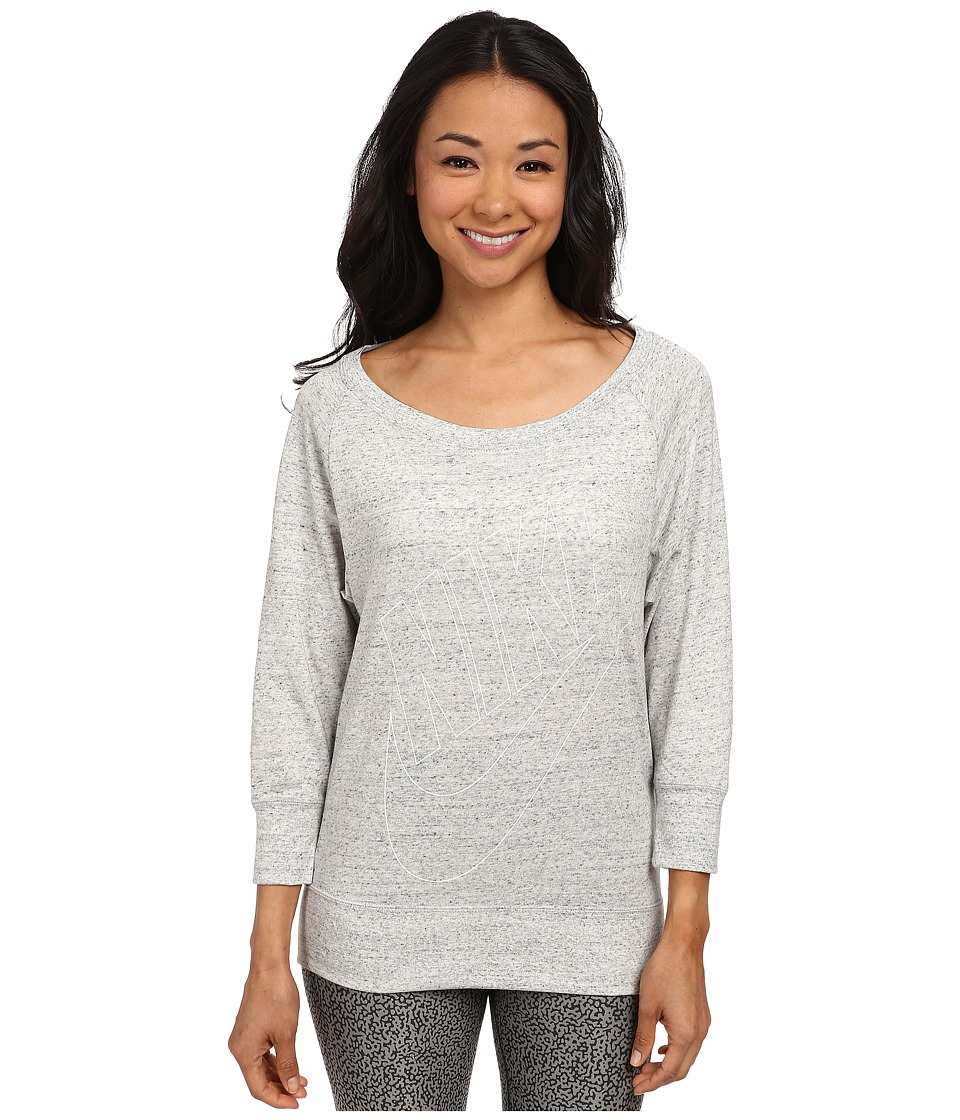 Nike - Gym Vintage L/S Crew (Grey Heather/Sail) Women's Long Sleeve Pullover