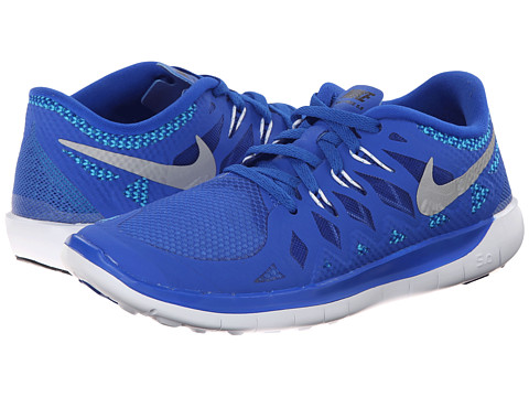 Nike Kids - Free 5.0 (Big Kid) (Lyon Blue/Blue Lagoon/Black/Metallic Silver) Kids Shoes