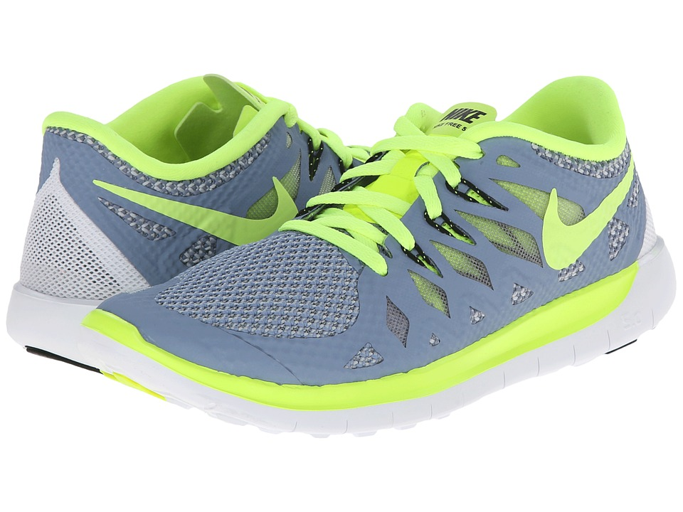 Nike Kids - Free 5.0 (Big Kid) (Cool Blue/Wolf Grey/White/Volt) Kids Shoes