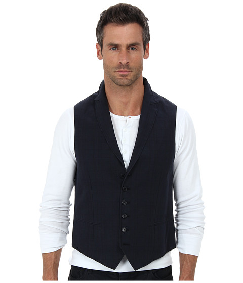 John Varvatos Star U.S.A. - Five Button Peak Vest w/ Wire Edges JVV090B (Indigo) Men's Vest