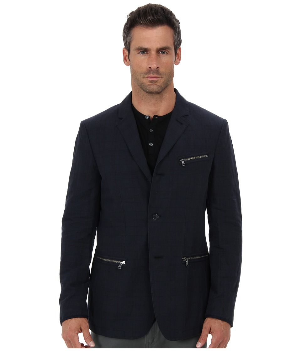 John Varvatos Star U.S.A. - Four Button Roll to Two Button Notch w/ Zipper Pockets JVS1050B (Indigo) Men's Jacket