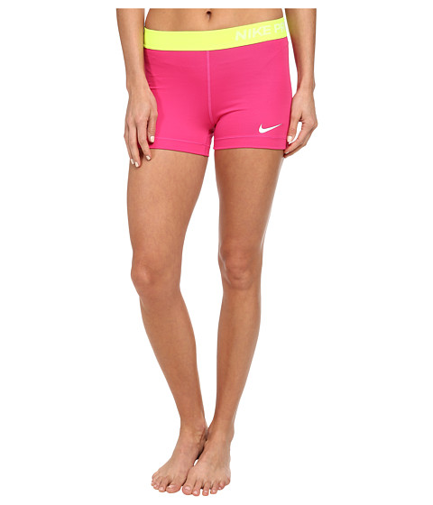 Nike - Pro Three-Inch Short (Hot Pink/White) Women