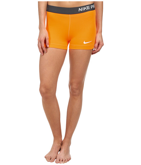 Nike - Pro Three-Inch Short (Bright Citrus/White) Women