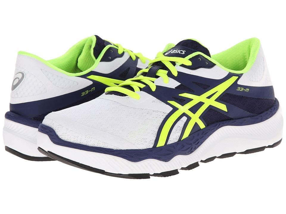ASICS - 33-M (White/Flash Yellow/Navy) Men's Running Shoes