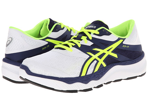 ASICS - 33-M (White/Flash Yellow/Navy) Men's Running Shoes