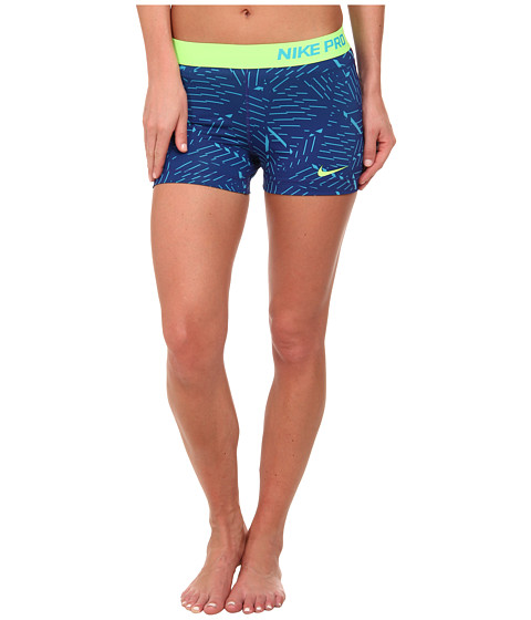 Nike - Pro Bash 3 Short (Blue Lagoon/Deep Royal Blue/Flash Lime) Women