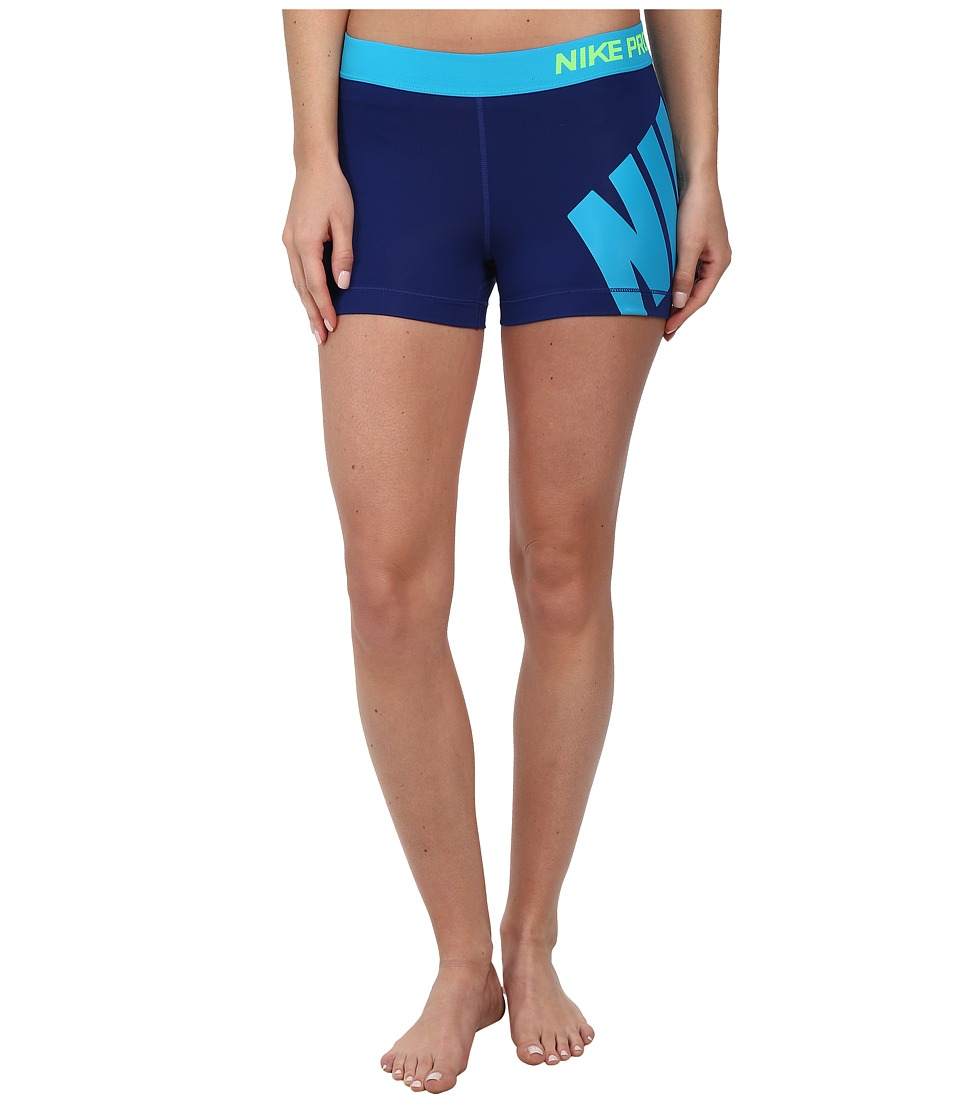Nike - Pro 3 Logo Short (Deep Royal Blue/Blue Lagoon) Women