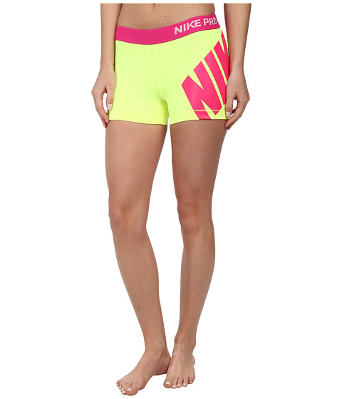 Nike - Pro 3 Logo Short (Volt/Hot Pink) Women