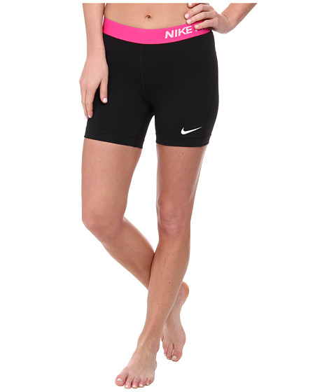 Nike - Pro Five-Inch Short (Black/Hot Pink/White) Women's Shorts