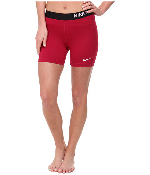 Nike - Pro Five-Inch Short (Dark Fireberry/White) Women