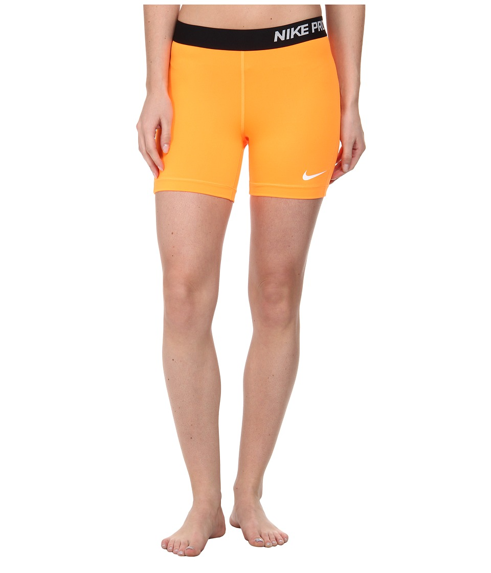 Nike - Pro Five-Inch Short (Bright Citrus/White) Women