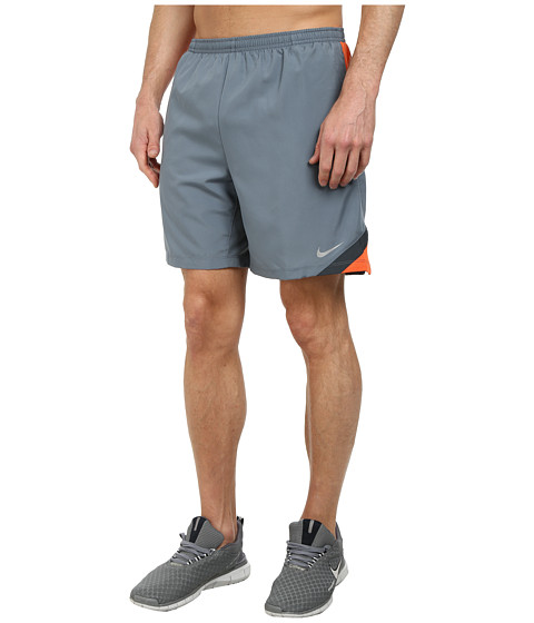 Nike - 7 Attack Short (Blue Graphite/Electro Orange/Classic Charcoal/Reflective Silver) Men