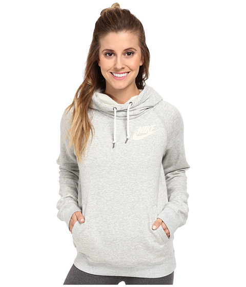 Nike - Rally Funnel Neck Hoodie (Grey Heather/Sail) Women
