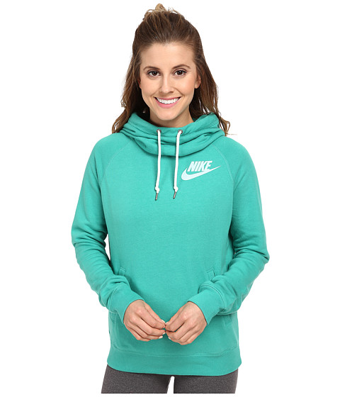 Nike - Rally Funnel Neck Hoodie (Emerald Green/Sail) Women's Sweatshirt