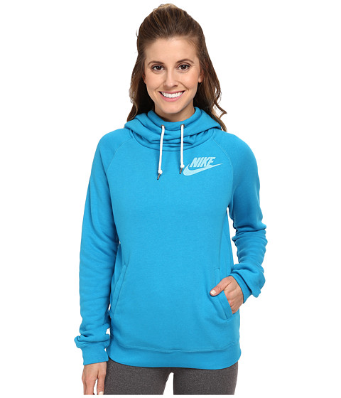 Nike - Rally Funnel Neck Hoodie (Light Blue Lacquer/Sail) Women