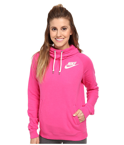 Nike - Rally Funnel Neck Hoodie (Hot Pink/Sail) Women's Sweatshirt