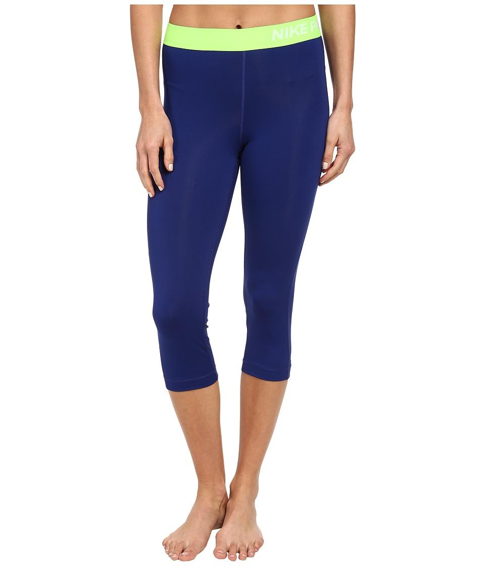 Nike - Pro Capri (Deep Royal Blue/Flash Lime/White) Women