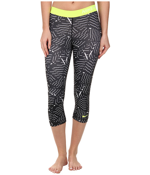 Nike - Pro Classic Bash Capri (White/Black/Volt) Women's Capri