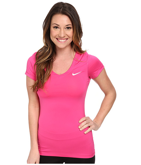 Nike - Pro S/S V-Neck Top (Hot Pink/White) Women's T Shirt