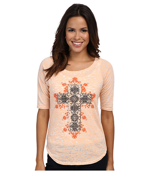 Roper - Burnout Jersey L/S Top (Orange) Women's Short Sleeve Pullover