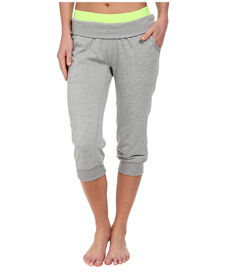 Nike - Obsessed French Terry Capri (Dark Grey Heather/Volt/Cool Grey/Matte Silver) Women