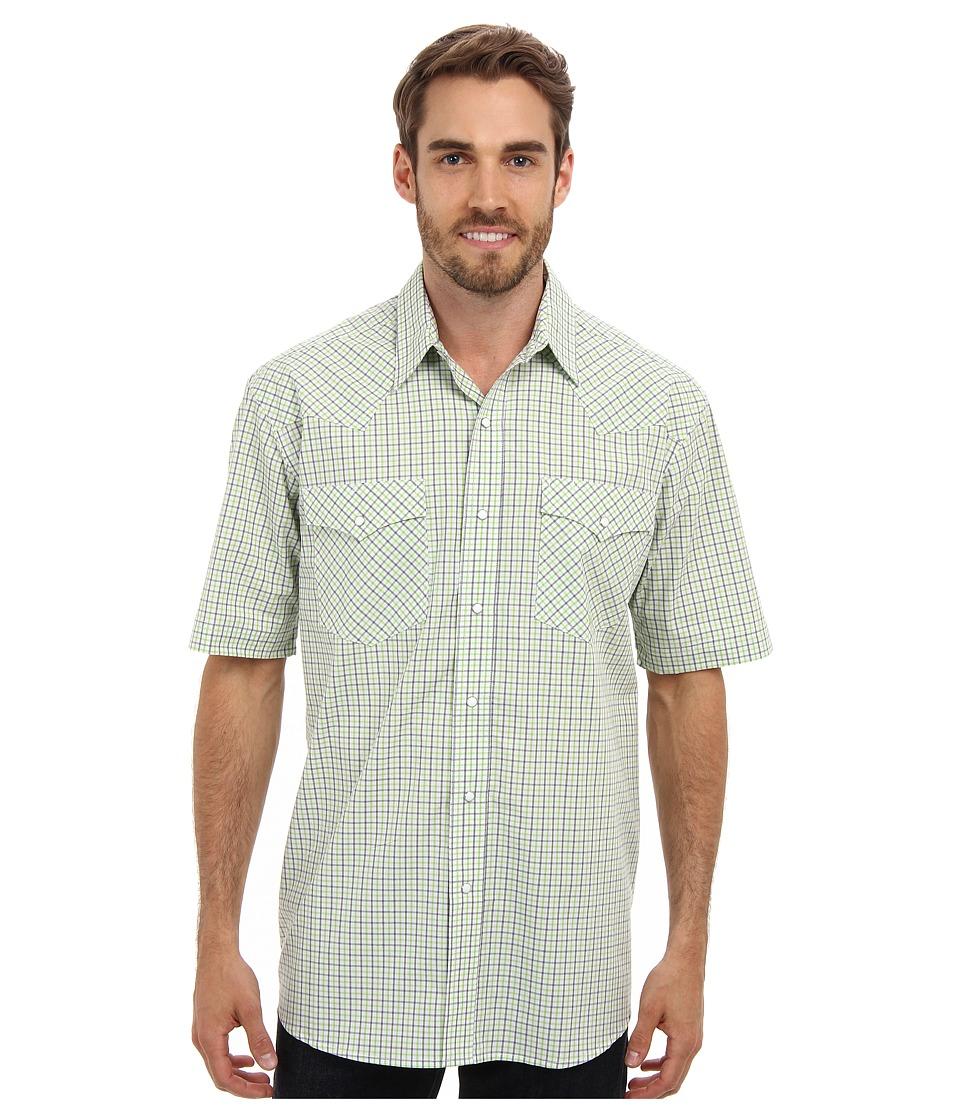 Roper - Summer Mini Check Snap S/S Shirt (White) Men's Short Sleeve Button Up