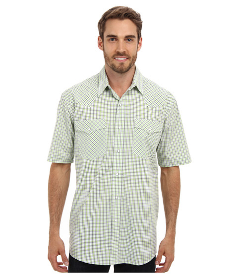 Roper - Summer Mini Check Snap S/S Shirt (White) Men's Short Sleeve Button Up