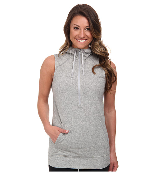 Nike - Sleeveless Obsessed Half-Zip Hoodie (Dark Grey Heather/Silver/Silver) Women