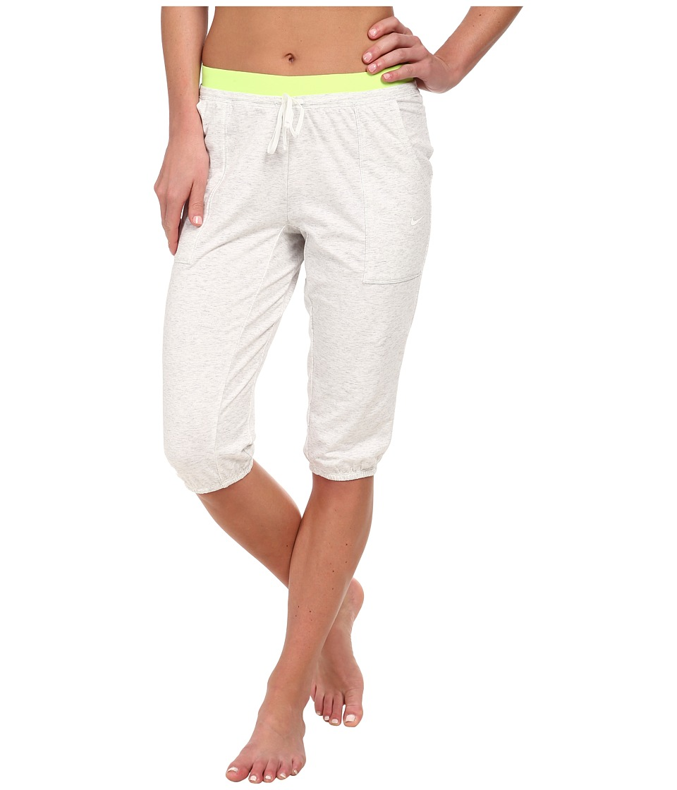 Nike - Lightweight Obsessed Training Capri (Birch Heather/Volt/White) Women's Capri