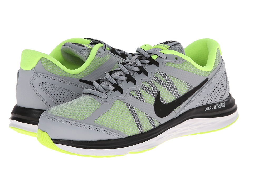Nike Kids - Dual Fusion Run 3 (Big Kid) (Wolf Grey/Volt/White/Black) Boys Shoes