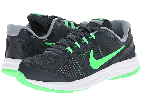 Nike Kids - Fusion Run 3 (Little Kid) (Classic Charcoal/Dove Grey/White/Poison Green) Boys Shoes