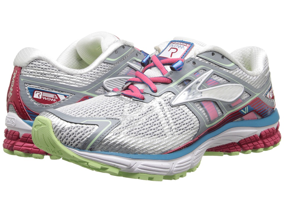 Brooks Ravenna 6 (White/Raspberry/Paradise Green) Women
