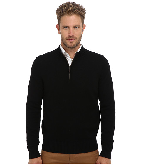Culture Phit - 100% Cashmere Alex Mockneck Pullover (Black Combo) Men's Long Sleeve Pullover