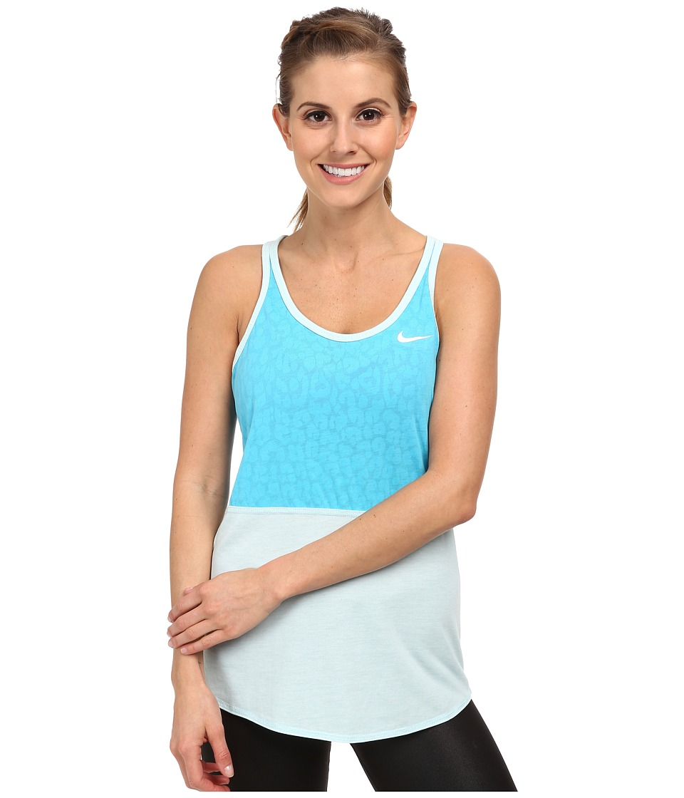 Nike - Dri-FIT Cool Burnout Tennis Tank Top (Clearwater/Ice Cube Blue/Ice Cube Blue/White) Women