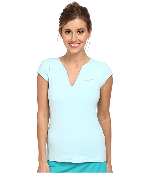 Nike - Pure Tennis Top (Ice Cube Blue/Matte Silver) Women's T Shirt