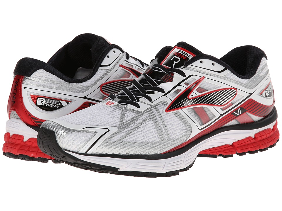 Brooks - Ravenna 6 (White/High Risk Red/Black) Men's Running Shoes
