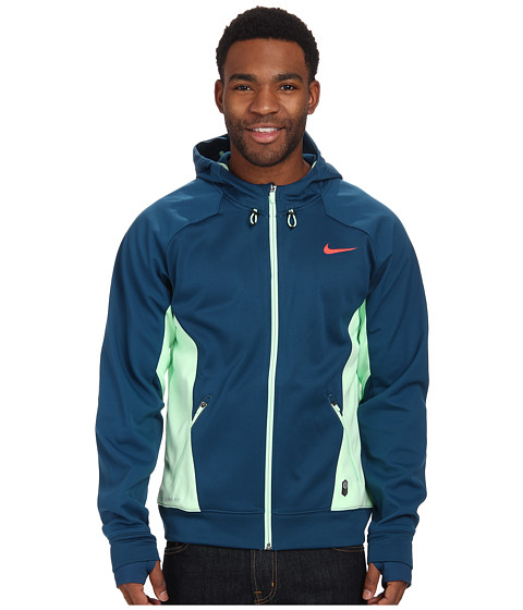 Nike - Hero Outdoor Tech Full-Zip Hoodie (Blue Force/Vapor Green/Vapor Green/Bright Crimson) Men's Coat
