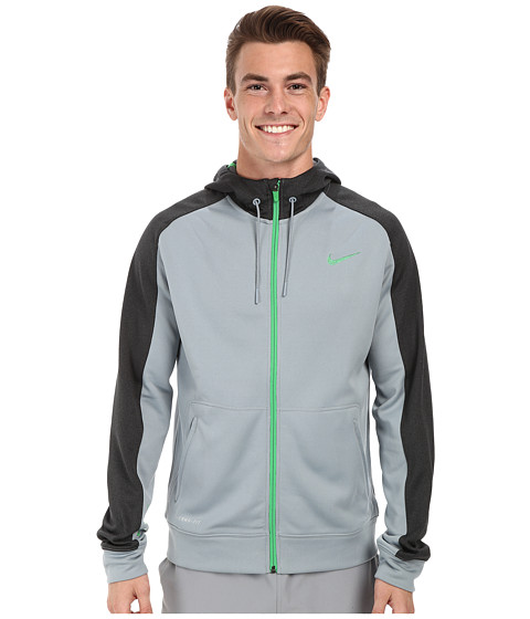 Nike - Elite Stripe Full-Zip Performance Fleece Hoodie (Dove Grey/Black Heather/Light Green Spark/Light Green Spark) Men's Coat