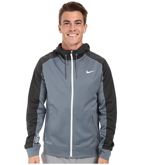 Nike - Elite Stripe Full-Zip Performance Fleece Hoodie (Blue Graphite/Black Heather/White/White) Men's Coat
