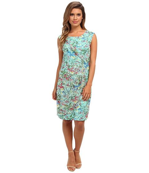 Christin Michaels - Printed Lace Faux Wrap Dress (Mint) Women