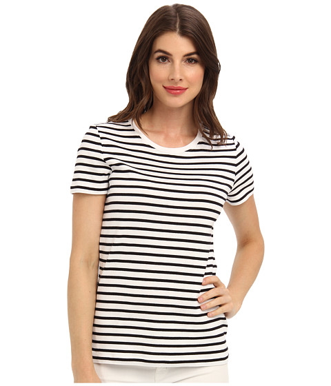 Jones New York - Short Sleeve Crew Neck (White/Black) Women's Short Sleeve Pullover