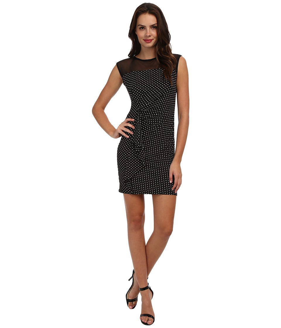 Christin Michaels - Polka Dot Ruffle Dress (Black/Ivory) Women's Dress
