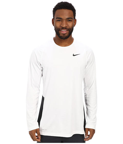 Nike - Crossover L/S Top (White/White/Black/Black) Men's Long Sleeve Pullover