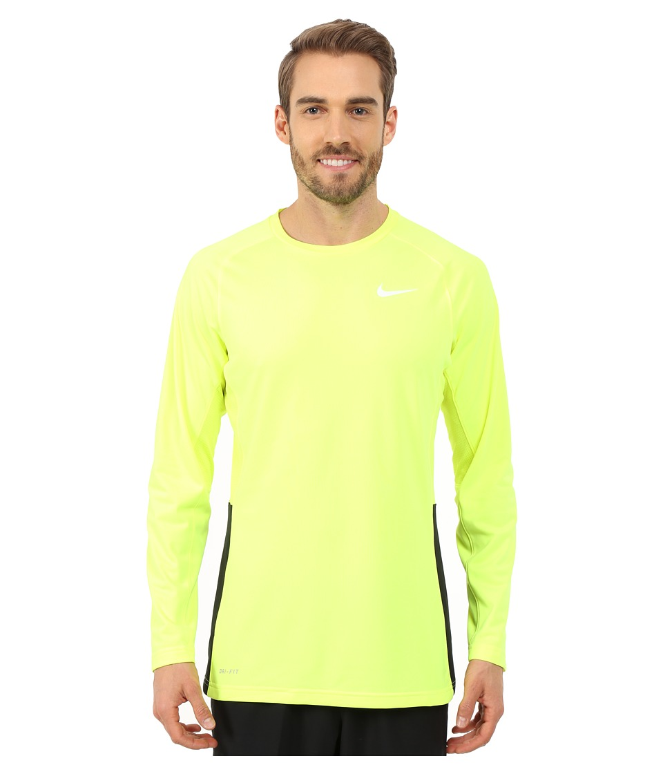 Nike - Crossover L/S Top (Volt/Volt/Black/White) Men's Long Sleeve Pullover